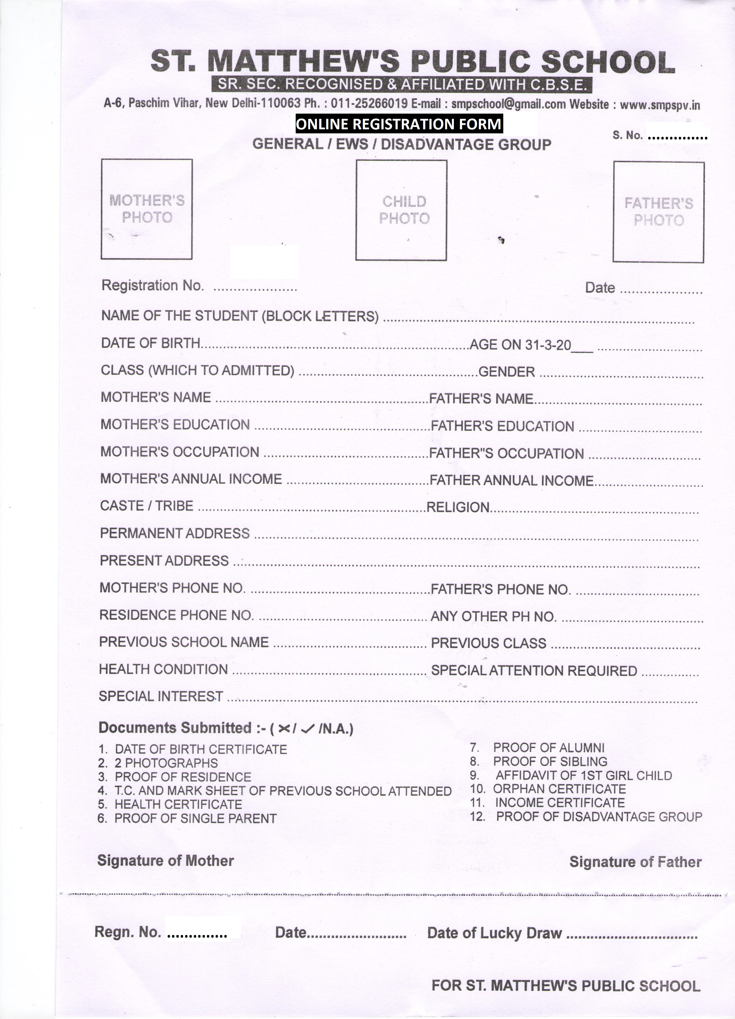 St Matthew Public School – Admission Form for School